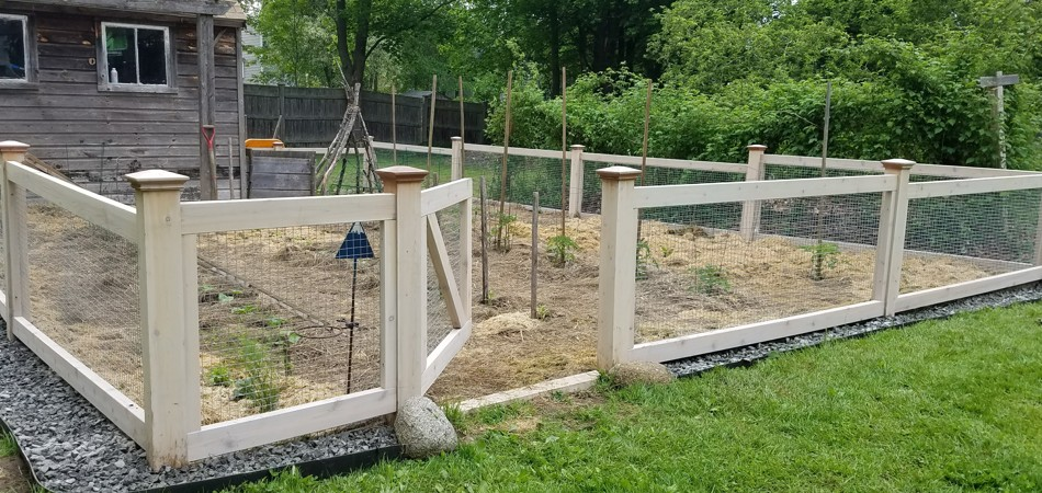 Cedar & Wire Garden Fence